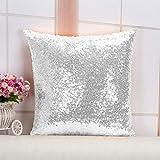 ShinyBeauty Lumbar Throw Pillow Case 12''X12''-Silver Sequin Throw Pillow, Glitter Sofa Pillow Cover, Sparkly Pillow Case, Designer Pillow Cover,Sequined Pillow Cover Small Decorative Pillow Case