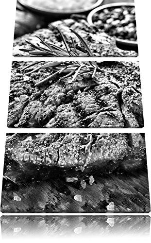 Pixxprint Leckeres Fleisch mit Rosmarin als Leinwandbild | Größe: 3 Teilig (120x80) | Wandbild| Kunstdruck | fertig bespannt