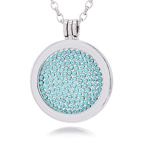 Morella® Damen Halskette 70 cm Edelstahl und Anhänger mit Coin Glitzersteine hellblau 33 mm im Schmuckbeutel