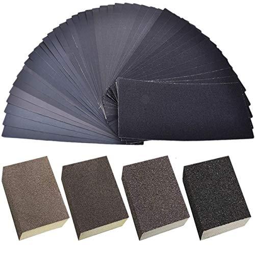 JZK 42 x Papel de lija 120 a 3000 grit surtido papel lija seco/agua + 4 esponjas abrasiva para lijar y pulir para madera metal plástico o porcelana