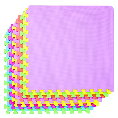 POCO DIVO 36SQFT Giant Play Mat 9Tile Excise Mat Easy Setup Solid EVA Foam Mat MultiColor Interlocking Floor with 18Border