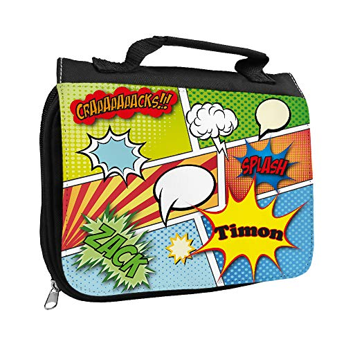 Kulturbeutel mit Namen Timon und Comic-Motiv für Jungen | Kulturtasche mit Vornamen | Waschtasche für Kinder