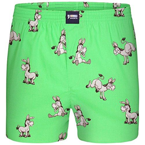 Happy Shorts Boxershorts Herren/Web-Boxer mit Jersey-Innenslip; Modell: Donkeys (XL)