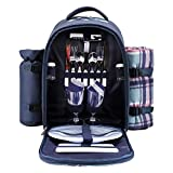 apollo walker Picnic Backpack Bag for 2 Person with Cooler Compartment, Detachable Bottle/Wine Holder, Fleece Blanket,...