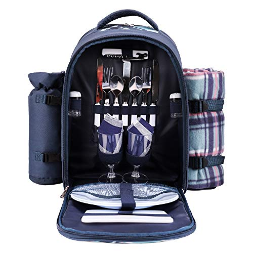 apollo walker Picnic Backpack Bag for 2 Person with Cooler Compartment,...