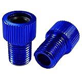 Charmate® 2 adaptadores de válvula para bicicleta de aluminio, color azul, DV SV Dunlop/válvula francesa a válvula de coche AV – con anillo de sellado