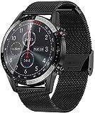 jpantech Smartwatch Reloj Inteligente Mujer Hombre | Llamadas Bluetooth |Pantalla táctil Completa | Monitor de ECG | monitoreo de la frecuencia cardíaca medición de la presión Arterial (Negro-Acero)