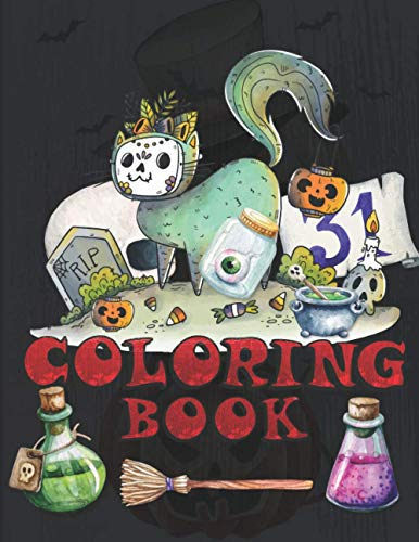 Coloring Book: Cat Lover Trick or treat Ghost Witch Spooky Halloween Zombies Horror Magical night Halloween Coloring Activity Book for Kids Ages 4-8. ... Kindergarten and Preschoolers Students