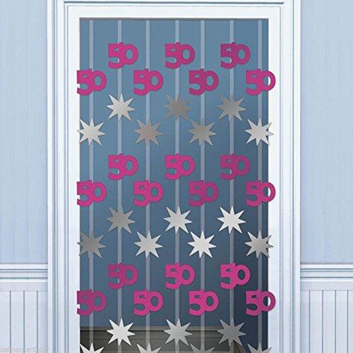 Pink Shimmer 50th Birthday Door Danglers Decoration