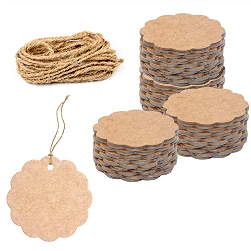 """200 PCS Kraft Scalloped Paper Gift Tags with 100 Feet Natural Jute Twine String for Arts Crafts Packaging (Label Measures 2.4"""" in Diameter)"""