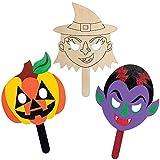 Baker Ross AX225 Máscaras De Madera De Halloween - Paquete De 4, Decoraciones De Halloween, Arte Creativo Y Suministros Para Manualidades Para Niños