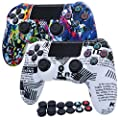 RALAN PS4 Controller Skin, Anti-Slip Grip Silicone Cover Protector Case with 2 Cat +2 Skull + 8xPaw Thumb Grips Caps Compatible for PS4 Controller (Phoenix + Black and White Flag)
