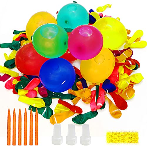 Wasserbomben Set mit 1000 Wasser Luftballons Wasserballon mit Gummibänder und Füllen Instrument für Sommer