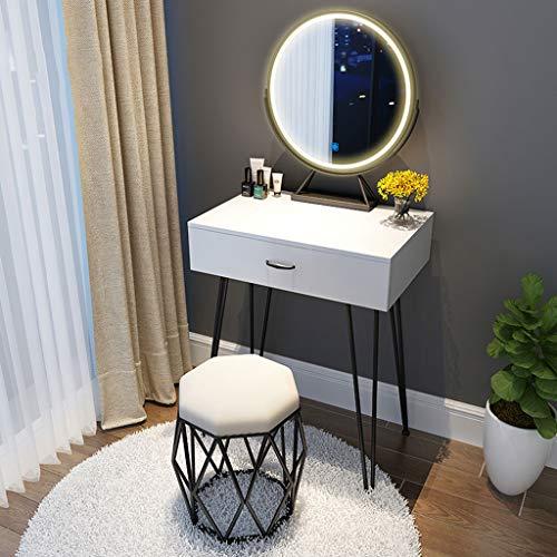 SHENXINCI Schminktisch Frisiertisch mit Spiegel und Schublade für Schlafzimmer oder Jugendzimmer mit LED-Beleuchtung, Spiegel, und Stuhl| ideal für Damen & Teenager,23.62/31.49/39.37In