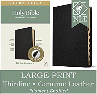 NLT Large Print Thinline Reference Holy Bible (Red Letter, Genuine Leather, Black, Indexed): Includes Free Access to the F...