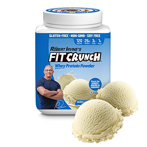 FITCRUNCH Whey Protein Powder | Keto Friendly | Designed by Robert Irvine | 120 Calories, 25g of Protein & 1g of Sugar | Mixology Technology, Gluten Free, Soy Free & Non-GMO (Vanilla Milkshake)