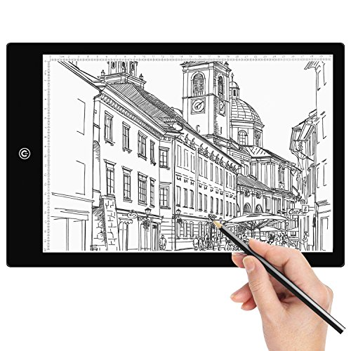Tracing Light Box Amzdeal A4 LED Light Box Tracer Artcraft Tracing Light Pad with 6 Dimmable Brightness USB Powered for Drawing Sketching Animation