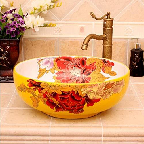 Spoelbak van artistiek keramiek, geëmailleerd, rechtstreeks uit de fabriek, wastafel voor spoelbak, ronde wastafel van de teller