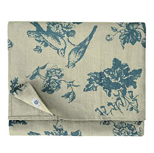 Linen & Cotton Hochwertige Tischdecke Tischtuch Tischwäsche Flores mit Blumen Motiv - 100% Leinen, Beige Blau (140 x 140 cm) Vintage Quadratisch für Home Küche Couchtisch Tuch Dekoration