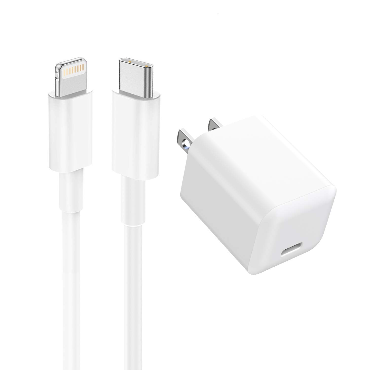 Pantom 20W USB C Type-C Wall Charger and Fast Charging Cable Compatible with iPhone 12/12 Mini/12 Pro/11/11 Pro/11 Pro Max/X/XS/XS Max/XR/8/8 Plus/7/7 Plus/6s/6s Plus/5/SE iPad Air/Mini/iPod