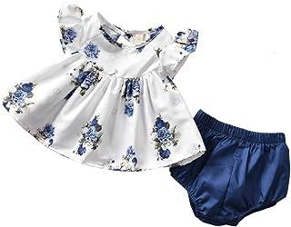 Conjunto de ropa de verano para bebé y niña (0-24 m), color blanco