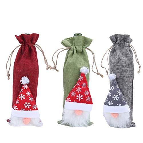 KAKAKE Encantadora decoración de Botella de Vino de Navidad Adorno de Botella de Vino de Santa Claus Accesorios de Navidad Bolsa de Botella de Vino para Navidad para decoración