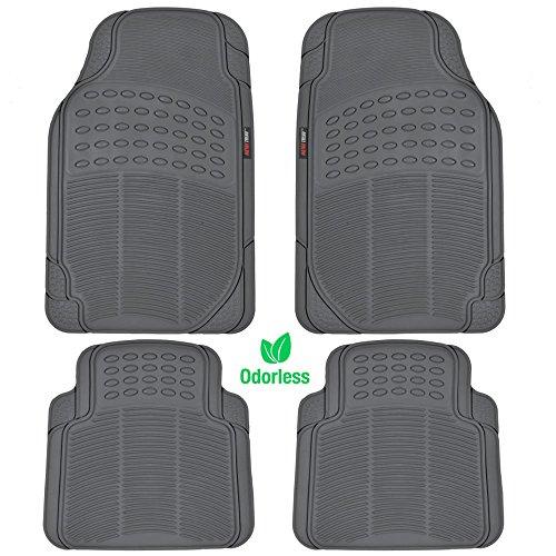 Motor Trend MT754GRAMw1 FlexTough Heavy Duty Car Floor Mats - 4 PC 100% Odorless & All Weatherproof (Gray)