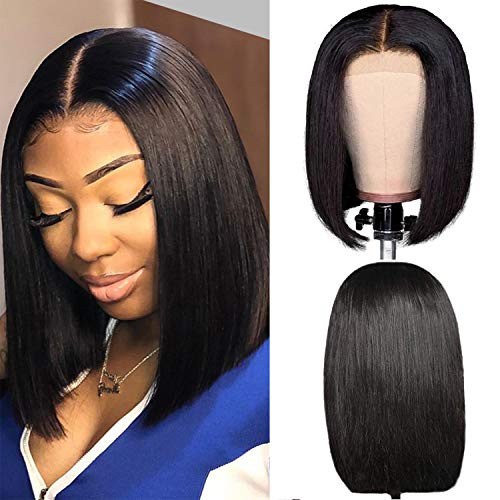Short Bob Human Hair Wig 150% Density Straight Lace Front Wig Echthaar perücken für schwarze Frauen 4x4 Lace Closure Bob Wig Brazilian Virgin Hair Wig Pre Plucked Hairline Natural Color 14
