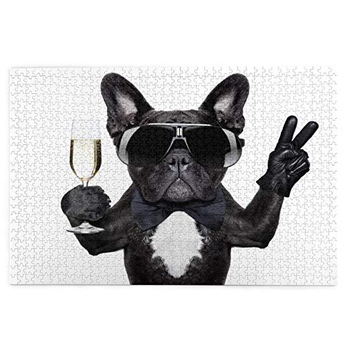 Rompecabezas de 1000 Piezas,Rompecabezas de imágenes,Cumpleaños Bulldog Francés Copa de champán y Victoria Paz,Juguetes puzzle for Adultos niños Interesante Juego Juguete Decoración Para El Hogar