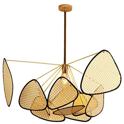 ZAKRLYB Araña de la hoja de rejilla hecha a mano de bambú de la armadura de bricolaje de mimbre Rattan pantallas de lámparas que cuelgan del techo lámpara moderna china luz pendiente for sala de estar