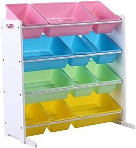 Phoenix Home Pastel Collection Kids' Toy Storage Organizer with 12 Plastic Bins, Paste+white