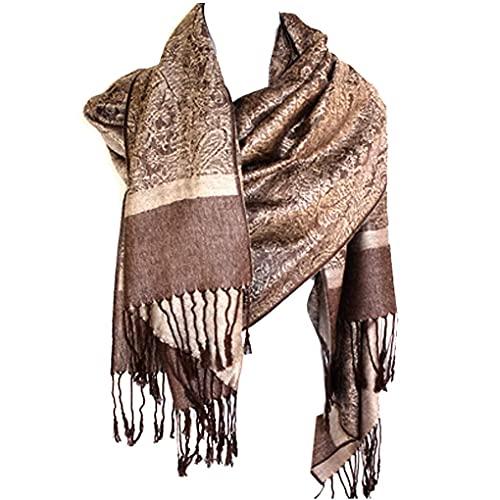Silver Fever Pashmina dello scialle della sciarpa della stola bicolore Jacquard Paisley