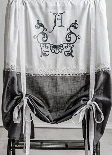 Anna frost grau bestickt Raffgardine 120x120cm Gardine Raffrollo Landhaus Shabby Chic Vintage Franske Leinenoptik