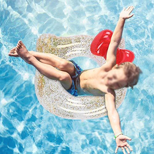 Kinder Schwimmring Pailletten Wasserring Roter Cartoon Katze Schwimmrohr Ring Aufblasbarer schwimmender Schwimmkreis Ring für Jungen Mädchen(70cm)
