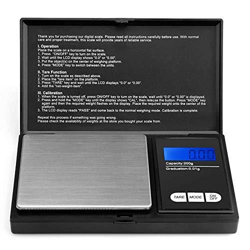 Defurhome 200g / 0,01g Taschenwaage, mit beleuchteter LCD-Anzeige Digitale Waage Feinwaage Digitalwaage/Goldwaage/Münzwaage