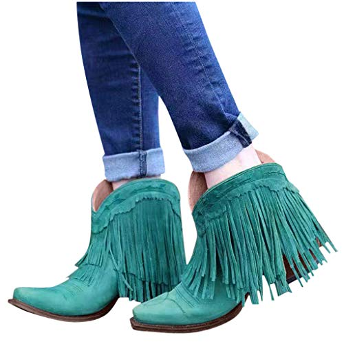 Swiusd Women's Vintage Fringe Ankle Boots Retro Flock Leather Midi Heel Combat Style Boots Comfy Waterproof Outdoor Western Shoes (Blue, 8)
