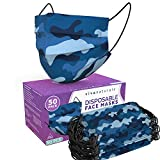 Blue Camo Face Mask for Men (50 Pack) - 3-Ply Camo Mask for Men with Comfortable Earloops &...