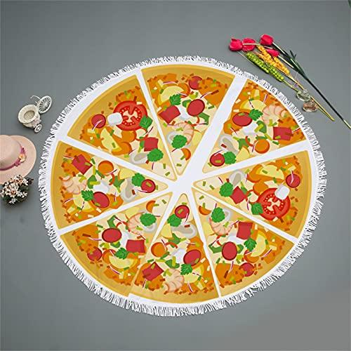 Toalla De Playa Redonda De Microfibra, Impresión Digital De Pizza, Toalla De Baño De Mantón Absorbente De Secado Rápido, Tapete De Playa De Microfibra 150 * 150cm