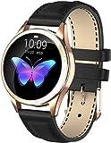Reloj inteligente para mujer con frecuencia cardíaca, podómetro, pulsera de fitness, Bluetooth, impermeable, reloj de seguimiento de actividad física para Android IOS (color: dorado) y negro