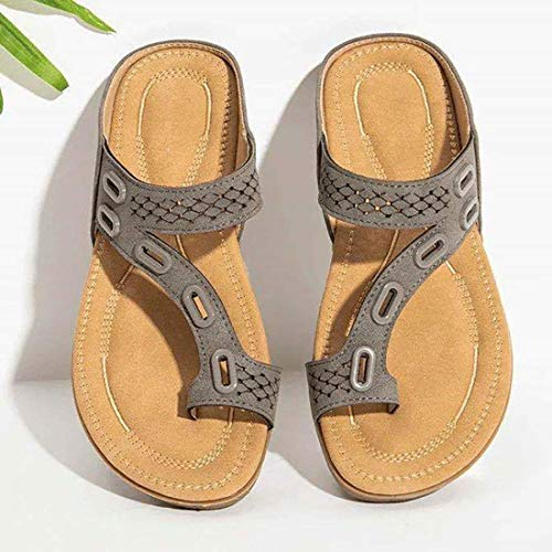 Alkyne Dr.Care Woman Orthopedic Comfy Premium Summer Slippers, Three Arch Support Design Non-Slip Sandals Slides for Plantar Fasciitis Pain Relief, Damping, Breathable, Comfortable, Fashion (Gray,10)
