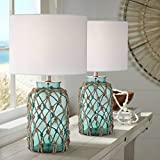 Crosby Cottage Nautical Accent Table Lamps Set of 2 Coastal Blue Green Rope Net Off White Drum Shade Decor for Living Room Bedroom House Bedside Nightstand Home Office Family - 360 Lighting