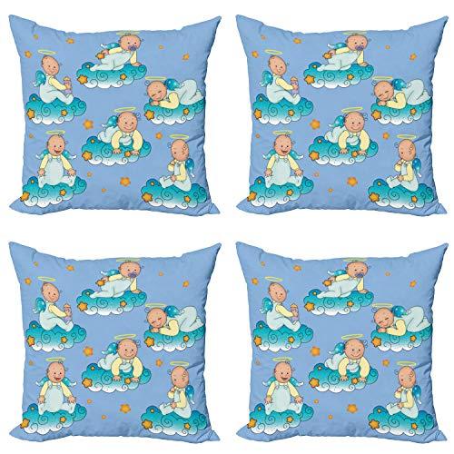 ABAKUHAUS Azul Set de 4 Fundas para Cojín, Bebés en Las Nubes en Dibujos Animados, Estampado Digital en Ambos Lados y Cremallera, 45 cm x 45 cm, Turquesa Amarillo