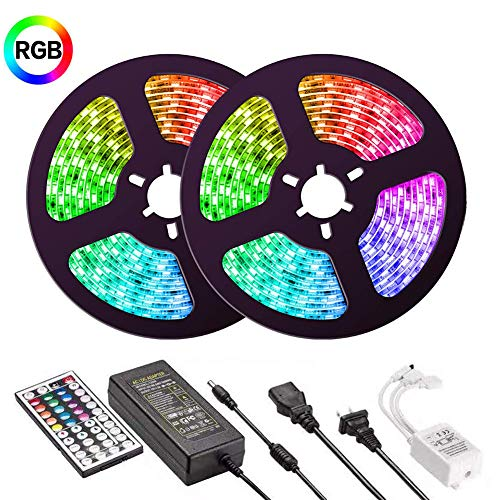 UMICKOO LED Streifen 10M(2x5M) RGB LED strip IP65 Wasserdicht SMD 5050 300 LED bänder Set Farbwechsel-Komplettsatz mit 44 Tasten IR Fernbedienung für Zuhause,Dekoration [Energieklasse A+]