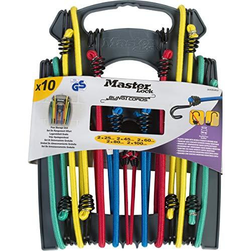 Master Lock 3043EURDAT Cuerdas elásticas con Ganchos Invertidos, óptimo para Sujetar Cargas Pequeñas,Camping,Mudanzas,Paquete de 10 Tensores, 2 x 25 cm + 2 x 45 cm + 2 x 60 cm + 2 x 80 cm + 2