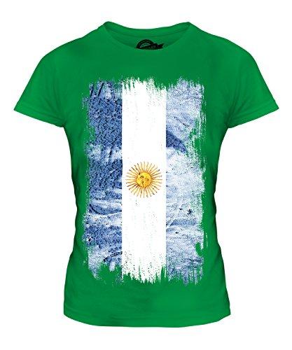 Argentina Grunge Bandera - camiseta ajustada para dama Top - algodón, Efervescente Apple, 100% ringspun 100% algodón, mujer, GB 16 (X-Large)