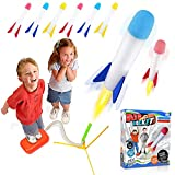 POKONBOY Toy Rocket Launcher for Kids Outdoor Toys - Jump Rocket Set Includes 6 Rockets and Launcher - Soars Up to 100 Feet Outdoor Rocket Toy Gift for Boys and Girls Ages 3 Years and Up