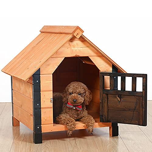 Casa de madera para perros pequeños con puerta, casa para mascotas de interior al aire libre resistente a la intemperie, refugio exterior con...