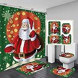 Santa Claus 4 Pcs Shower Curtain Set with Non-Slip Rugs Toilet Lid Cover Bath Mat Waterproof Fabric Cloth Polyester Bath Curtain Bathtub Curtains