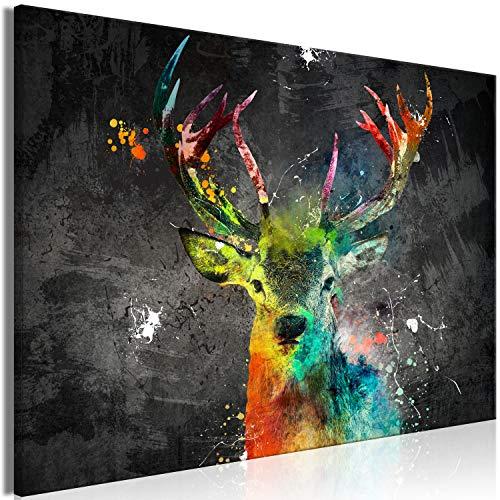 murando - Bilder Tier 90x60 cm Vlies Leinwandbild 1 TLG Kunstdruck modern Wandbilder XXL Wanddekoration Design Wand Bild - Hirsch bunt g-A-0241-b-a