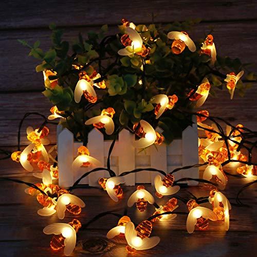 Cadena de luces LED solares de abejas, 50 ledes, 7 m, 8 modos, IP65, luz blanca cálida, exterior, impermeable, decorativa, para jardín, terraza, puerta, jardín, fiesta, boda o dormitorio, luz solar